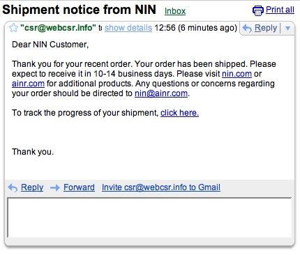 nin cd shipped